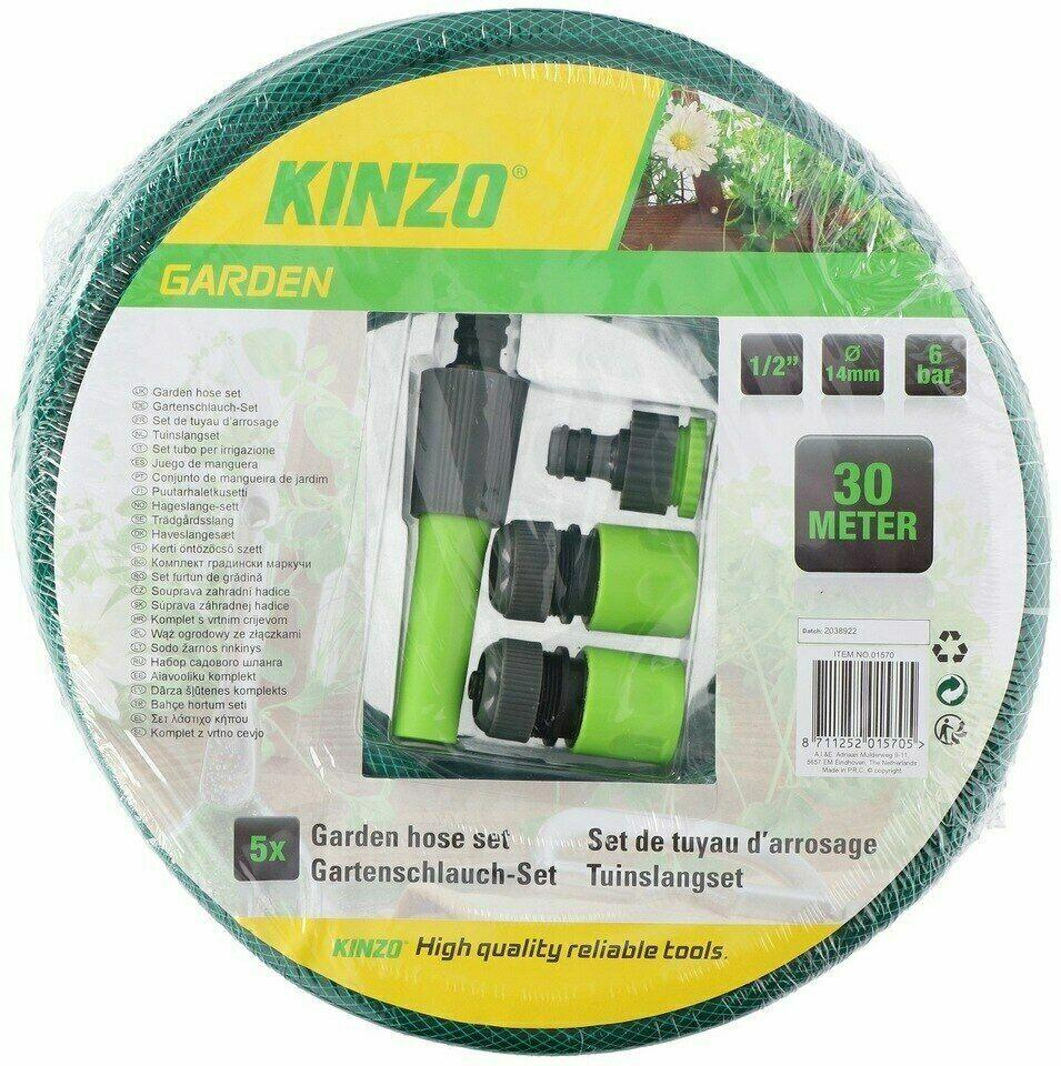 30M Reinforced Garden Hose Pipe Reel Set – Hosepipe Spray Nozzle Tap Connector