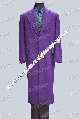 Joker Cosplay Costume Halloween High Quality Purple Trench Coat Jacket