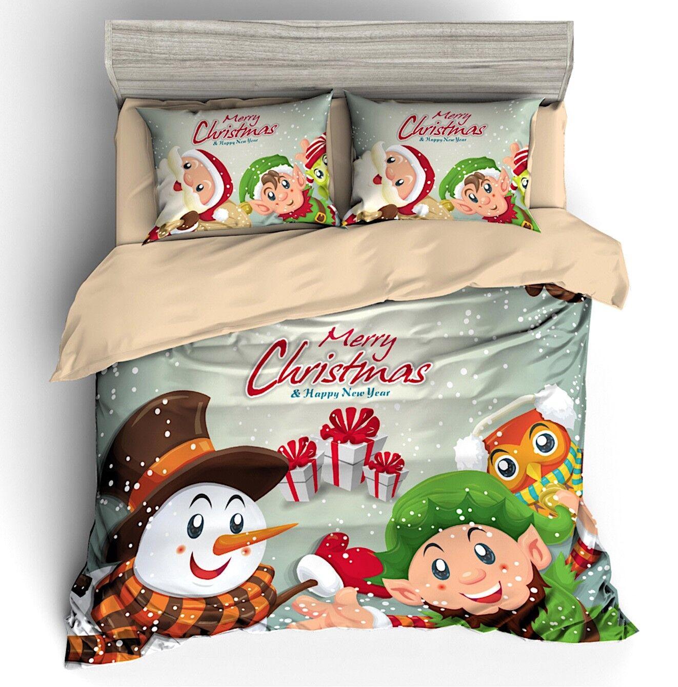 Natale Regalo Set Letto Copri Piumone Federe Copripiumone Duvet Cover BED0089