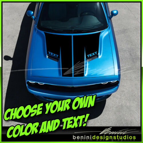 2015 and up Dodge Challenger R//T SRT8 Scat Pack Hood Stripes Graphics Decals 1