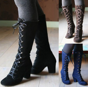 Gothic-Stumpunk-Lolita-Womens-Lace-Up-Boots-Victorian-Cosplay-Costume-Shoes