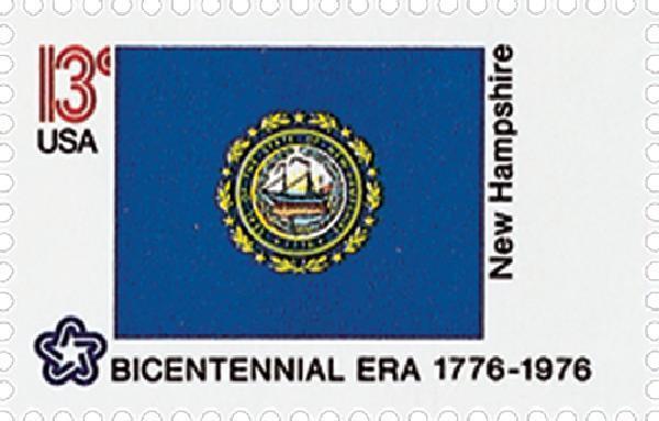 1976 13c New Hampshire State Flag, Bicentennial Era Sco