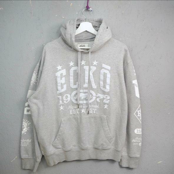 retro ecko hoodie sweatshirt grey big logo M