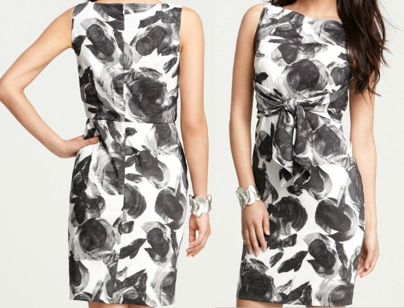NWT Ann Taylor Lightweight Cotton Viole Floral Print Dress Größe 14