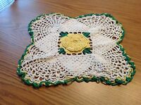Vintage hand crocheted Doily Very Clean Raised Roses Yellow, Green & White
