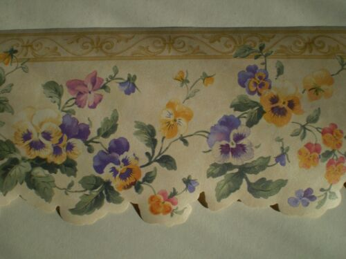 Multi-Color Floral with Gold /& Purple Scalloped Border by Fine Decor B.3576