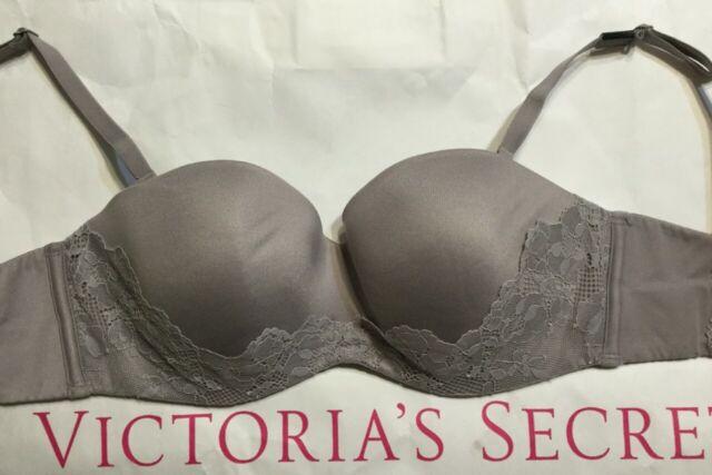 NWT VICTORIAS SECRET 32DD BROWISHGRAY BRA LINED STRAPLESS BODY BY VICTORIA F3338