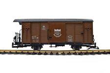 Train Gedeckter Güterwagen, RHB Gbk-v, braun, Spur G, Edelstahlräder, für LGB