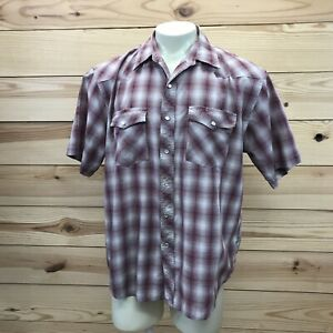 Falcon-Bay-Western-Shirt-Large-Red-Beige-Plaid-Short-Sleeve-Snap-Down-Cowboy-B83