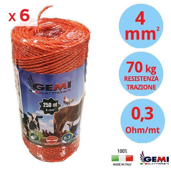 CONFEZIONE 6 Bobine di FILO 250 MT 4 mm Ø - 6 FILI CONDUTTORI RECINTO ELETTRICI
