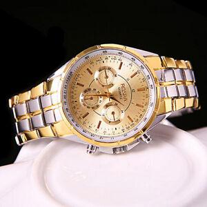 Fashion-Men-039-s-Luxury-Date-Gold-Dial-Stainless-Steel-Analog-Quartz-Wrist-Watch-FS