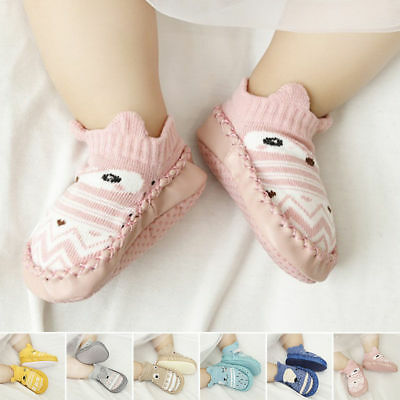 0-18M Baby Toddler Boys Girls Cartoon Anti-Slip Boots Socks Prewalker Slippers