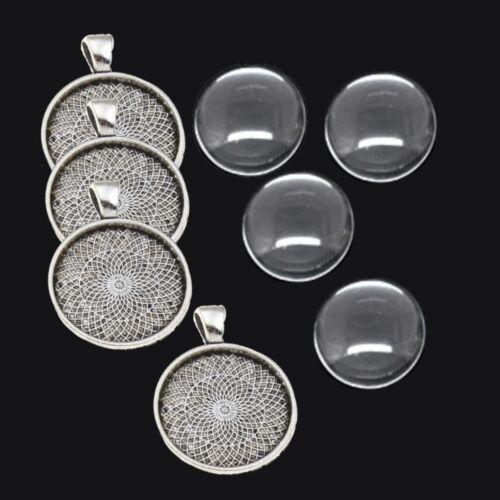 4 SET Silber Fassungen Anhänger Medaillons Cabochon Klar Glas 30mm Basteln DIY