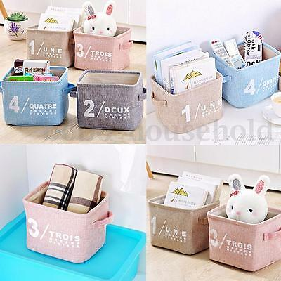 Linen Basket Storage Box Desk Holder Jewelry Stationery Cosmetic Organizer Case