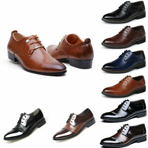 Business-Formal-Dress-Leather-Shoes-Men-039-s-Oxfords-Casual-Flats-Lace-Up-Loafers