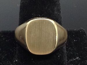Classic-14k-SOLID-Yellow-Gold-Mens-Signet-Ring-21-5g14k-585