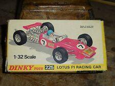 Vintage Dinky 225 Lotus F1 Racing Car MIB Box Shows Some Wear 1/32 Box Version