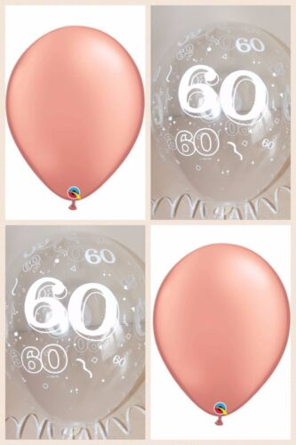 1 Of 2 Rose Gold Balloons Clear Printed 60th BIRTHDAY BALLOONS Party Decorations