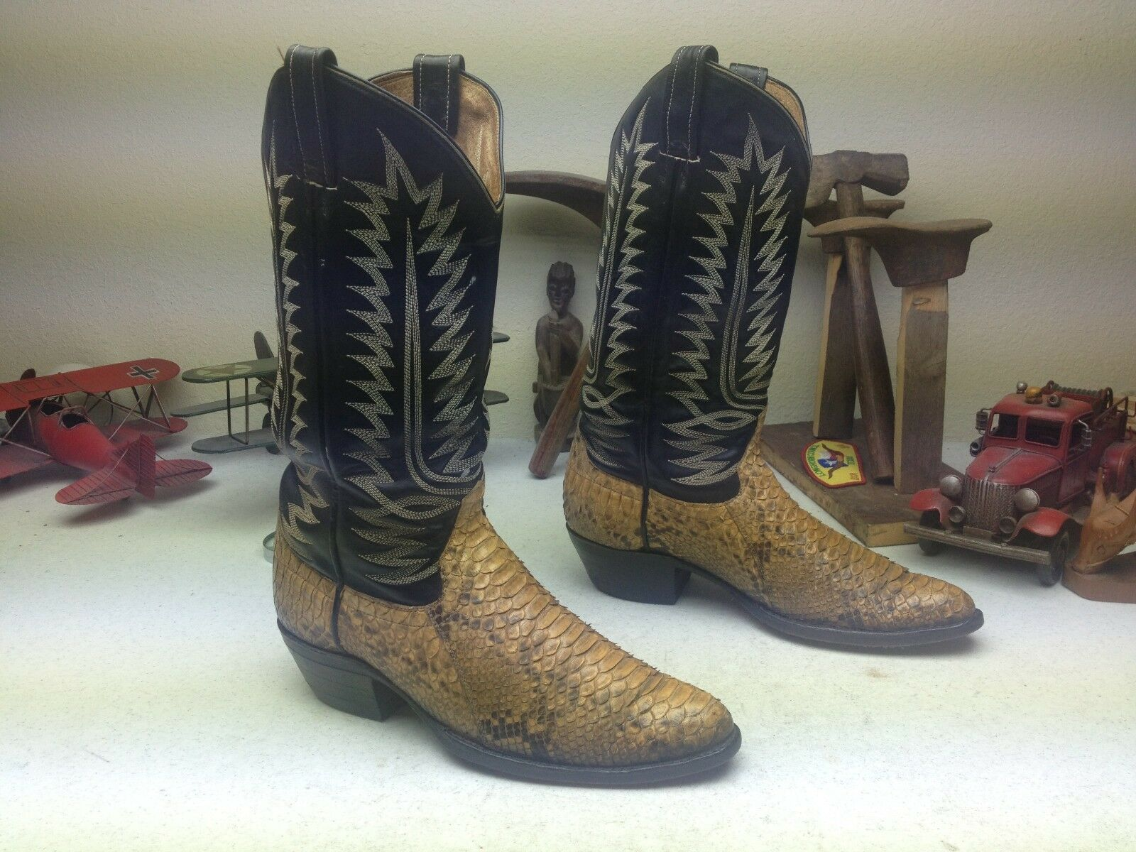 BUTTER C TOM BOSS SNAKESKIN WESTERN COWBOY DISTRESSED ENGINEER TRAIL BOSS TOM BOOTS 27.5 45f3c2
