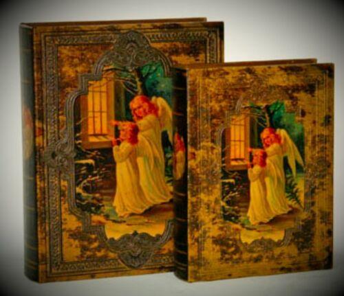 Buch Box 2 Engel LEATHER BOOK BOX SET 2 Schatullen im Buch Design Geschenk