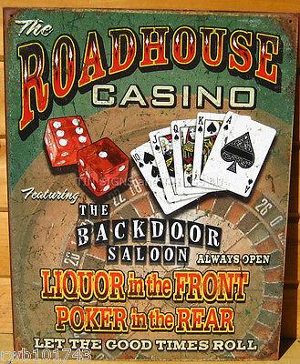 Roadhouse Casino Saloon TIN SIGN funny liquor poker gambling bar wall decor 1685