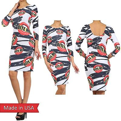 New Women Bite Me Sexy Lips Mouth Goth Emo Zipper Print Bodycon Fitted Dress USA