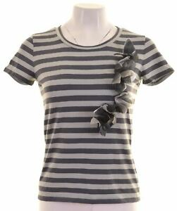 Max-Mara-Damen-T-Shirt-Top-Groesse-12-mittel-grau-gestreift-Baumwolle-ck06