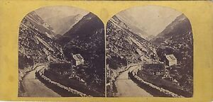 Suisse Alpes Foto Stereo Vintage Albumina Ca 1865