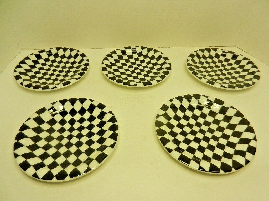 Lot de 5 Dames Bopla Porcelaine Espresso Plaque Series Noir & Blanc 6 1 8