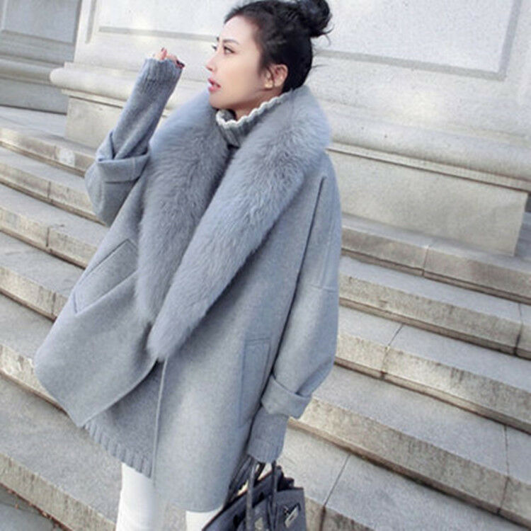 Women Coat Korean Korean Korean Style Plus Size Faux Fur Simple Woolen Blend Elegant Sbox14 49640b