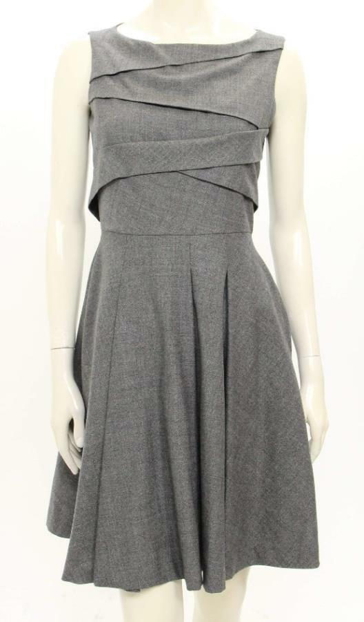 Lavia grau Wool Pleated Sleeveless A-Line Dress Größe IT40 US 4
