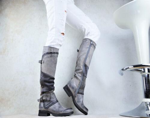 Nouveau Chaussures Femmes CREATEUR Bottes Motard Bottes Boucles Rivets Doublure