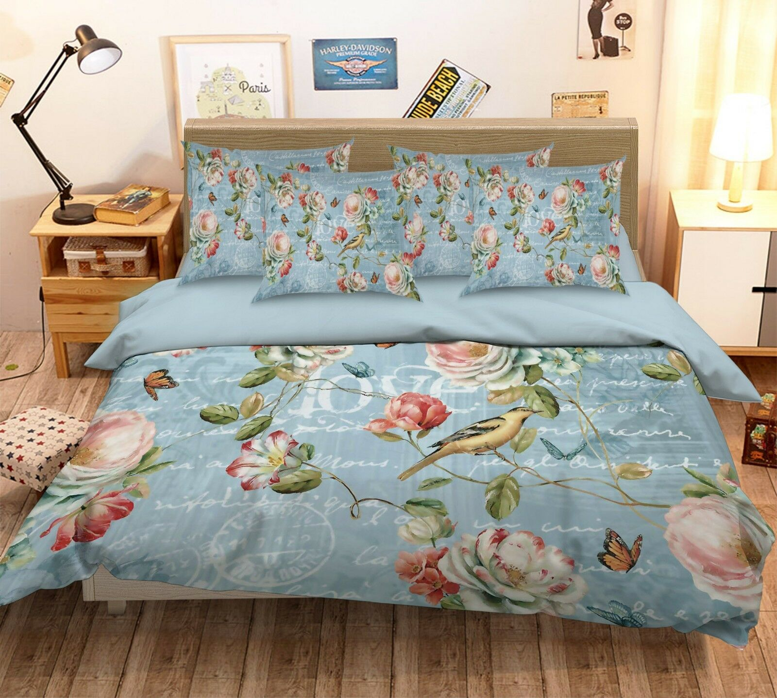 3D Painted Flowers57 Bed Pillowcases Quilt Duvet Cover Set Single Queen AU Carly