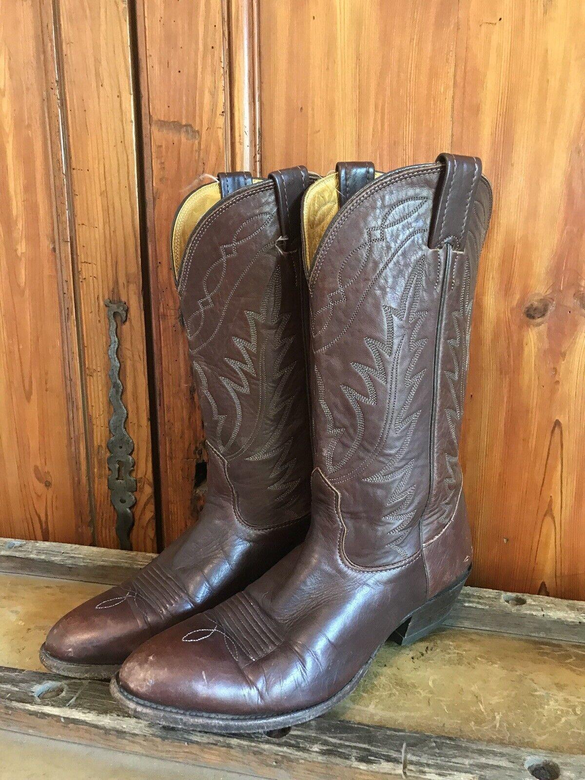 Rare Vintage Nocona Cowboys Western Boots Brown Mens Size 8.5 D