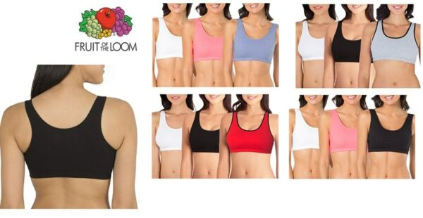 6e37fcc243b48 Fruit Of The Loom Women s Built-Up Full Coverage Cotton Sports Bra 3 Pack.  Hover to zoom