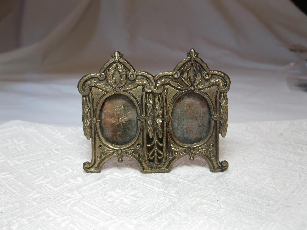 Antike Miniatur Doppelt Bilderrahmen Germany Ormolu VerGoldet C1900 Puppenhaus