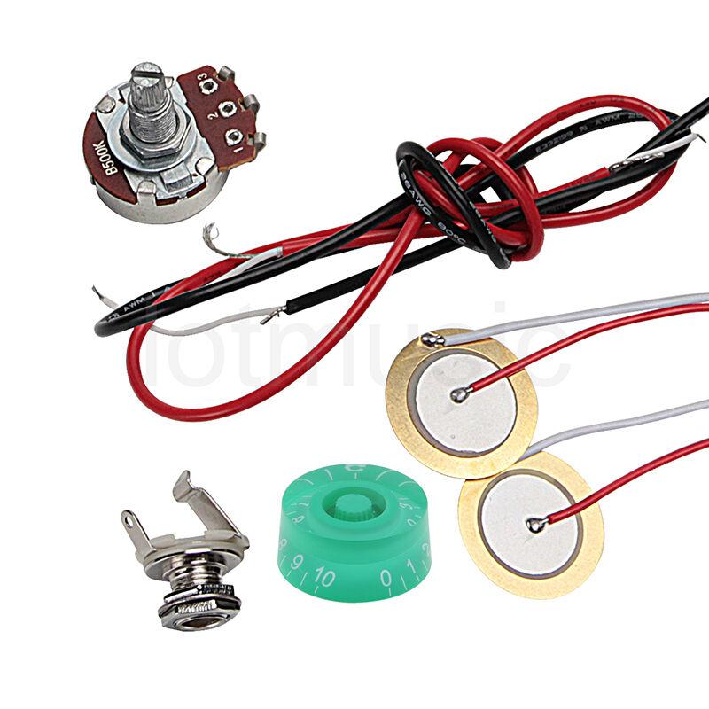 guitar piezo pickup knob potentiometer pot b500k kit for cigar box guitar parts ebay. Black Bedroom Furniture Sets. Home Design Ideas