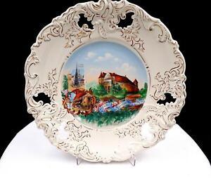 NURNBERG-GERMANY-HANDPAINTED-GOLD-PIERCED-RIM-10-3-8-034-SOUVENIR-PLATE-1900-039-s