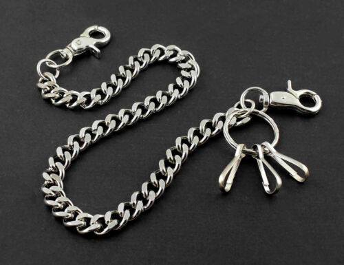 "Simple Thick Biker Trucker Keychain Key Jean Wallet Chain CS124 19/"" Silver"