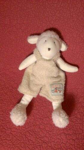 "11"" Moulin Roty LE GRAND FAMILLE ivory plush stuffed LAMB SHEEP w OVERALLS"