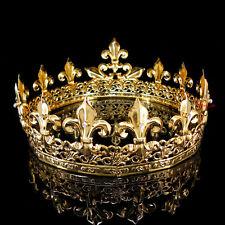 Men's Imperial Medieval Fleur De Lis Gold King Crown 8.5cm High 18cm Diameter