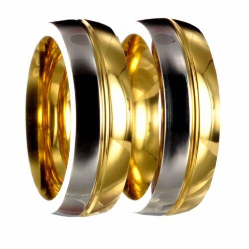 2 acero inoxidable l36 anillos bicolor plata//oro anillos de amistad grabado 20p176