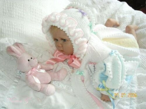 """Reborn Set 0-6 Months /""""Candystripes/""""  Pleated Baby KNITTING INSTRUCTIONS #10"""