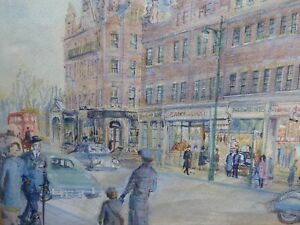 1960-S-WATERCOLOUR-LONDON-STREET-VIEW-FREE-SHIPPING-TO-ENGLAND