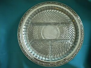 Details About Vintage Silver Plate Serving Tray Gl Insert Oneida