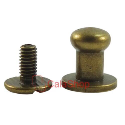 Brass Head Button Stud Screwback Leather Screw Craft 4mm 5mm 6mm 8mm 10mm 12mm