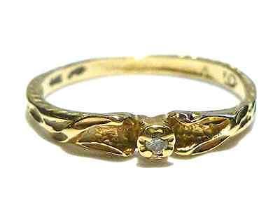 ART NOUVEAU DECO DESIGNER 14K YELLOW GOLD & DIAMOND WOMENS ESTATE RING BAND 6.75