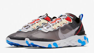 Image is loading NIKE-REACT-ELEMENT-87-GREY-RED-BLUE-LIMITED-