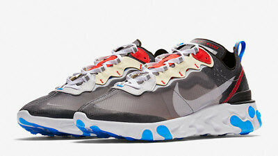 NIKE REACT ELEMENT 87- GREY/ RED/ BLUE