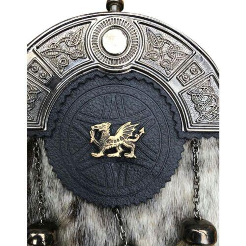 Scottish kilt sporrans peau de phoque Dragon Gallois Finition Antique//Homme Kilt Sporran